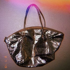 "Elizabeth Arden Bags - ""Metallic gold"" lizard embossed leather"